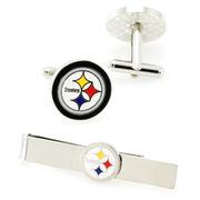 Pittsburgh Steelers Silvertone Team Logo Tie Clip & Cufflinks Set