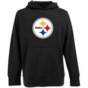 Antigua Pittsburgh Steelers Signature Pullover Hoodie - Black