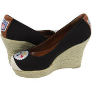 Cuce Shoes Pittsburgh Steelers Women's The Groupie Espadrille Wedge Sandals - Black