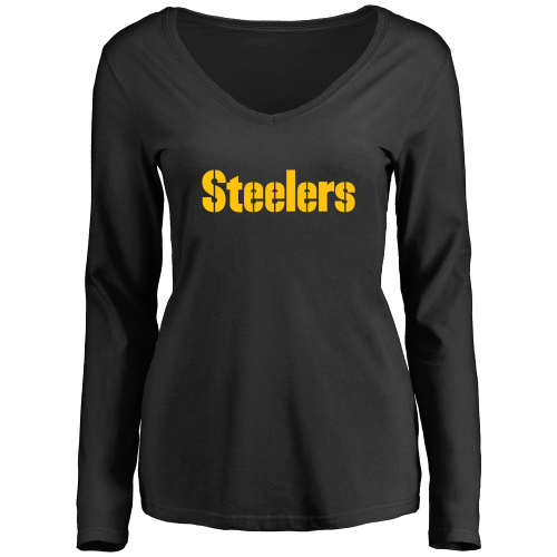 Women's Pittsburgh Steelers Design Your Own Long Sleeve V-Neck T-Shirt