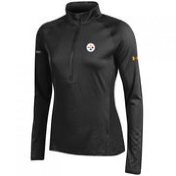 Pittsburgh Steelers Under Armour Women's NFL Combine Authentic Tech Half-Zip Sweatshirt - Black