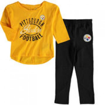Pittsburgh Steelers Girl's Toddler Fan Gear Football Sweetheart Long Sleeve T-Shirt and Pant Set - Gold/Black
