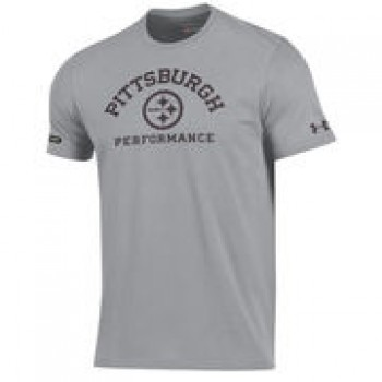 Pittsburgh Steelers Under Armour NFL Combine Authentic Arch Logo Performance T-Shirt - Gray