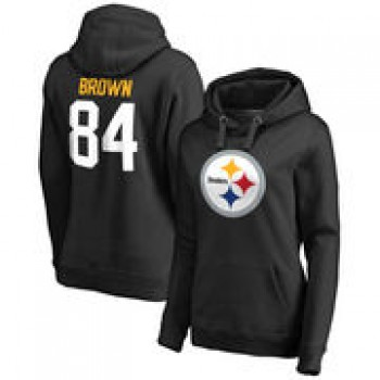 Antonio Brown Pittsburgh Steelers NFL Pro Line by Fanatics Branded Women's Team Icon Player Name & Number Hoodie - Black