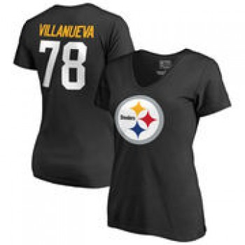 Alejandro Villanueva Pittsburgh Steelers NFL Pro Line by Fanatics Branded Women's Team Icon Name & Number T-Shirt - Black