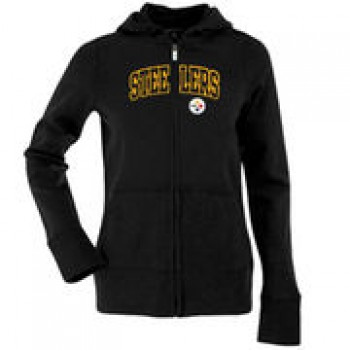 Antigua Pittsburgh Steelers Women's Left Chest Signature Full Zip Hoodie - Black