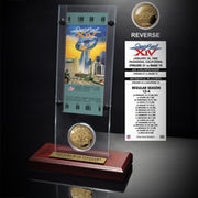 Pittsburgh Steelers Super Bowl XIV Ticket and Game Coin Acrylic Display