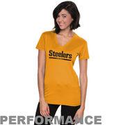Nike Pittsburgh Steelers Womens Legend Wordmark V-Neck Performance T-Shirt - Gold