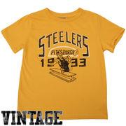 Junk Food Pittsburgh Steelers Toddler Kickoff Vintage T-Shirt - Gold