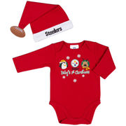 Pittsburgh Steelers Infant First Christmas Creeper and Hat Set - Red