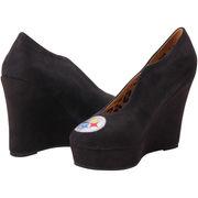 Pittsburgh Steelers Cuce Shoes Women's Spirited Wedge Pumps - Black