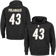 Troy Polamalu Pittsburgh Steelers Majestic Eligible Receiver II Name & Number Hoodie - Black