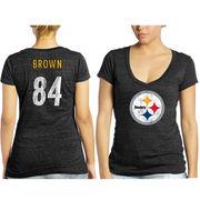 Antonio Brown Pittsburgh Steelers Tri-Blend Name & Number T-Shirt - Black  -