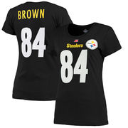 Antonio Brown Pittsburgh Steelers Majestic Women's Fair Catch V Name & Number T-Shirt - Black