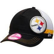 Pittsburgh Steelers New Era Women's Double Over 9FORTY Adjustable Hat - Black