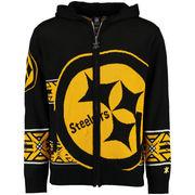 Pittsburgh Steelers Klew Big Logo Full-Zip Hoodie - Black