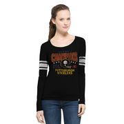 Pittsburgh Steelers '47 Women's On the Fifty Super Bowl X Champion Scoop Neck Long Sleeve T-Shirt - Black