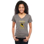 Pittsburgh Steelers NFL Pro Line Women's Throwback Logo Tri-Blend V-Neck T-Shirt - Gray