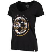 Pittsburgh Steelers '47 Women's Crosstown Flanker V-Neck T-Shirt - Black