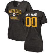 Women's Black Pittsburgh Steelers Distressed Custom Name & Number Tri-Blend V-Neck T-Shirt