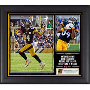 Antonio Brown Pittsburgh Steelers Fanatics Authentic Framed 15'' x 17'' Franchise Record Collage with a Piece of Game-Used Football - Limited Edition of 250