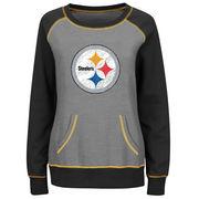 Pittsburgh Steelers Majestic Women's Overtime Queen Crew Neck Sweatshirt - Gray/Black