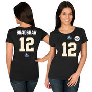 Terry Bradshaw Pittsburgh Steelers Majestic Women's Hall of Fame Fair Catch Name & Number T-Shirt - Black
