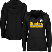 Pittsburgh Steelers Majestic Women's Plus Size Self Determination Pullover Hoodie - Black