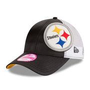 Pittsburgh Steelers New Era Women's Team Glitzer 9FORTY Adjustable Hat - Black