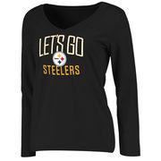 Pittsburgh Steelers NFL Pro Line Women's Team Chant Long Sleeve V-Neck T-Shirt - Black