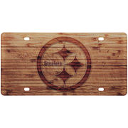 Pittsburgh Steelers Wood Design Acrylic License Plate