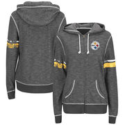 Pittsburgh Steelers Majestic Women's Plus Size Athletic Tradition Full-Zip Hoodie - Charcoal