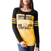 Pittsburgh Steelers New Era Overtime Henley Tri-Blend Long Sleeve T-Shirt - Gold/Black