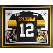 Terry Bradshaw Pittsburgh Steelers Fanatics Authentic Deluxe Framed Autographed Black Proline Jersey with HOF 89 Inscription