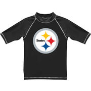 Pittsburgh Steelers Youth Arch Logo Short Sleeve Rashguard - Black